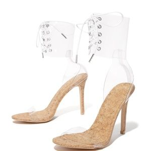 Clear Cork Corset Ankle Strap Heels